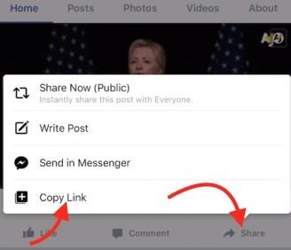 Copy FB Video Link