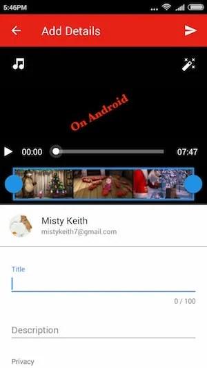 Upload via Android
