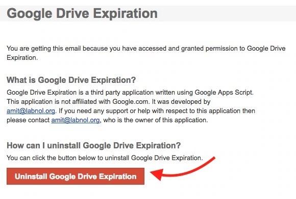 Uninstall Google Drive Expiration