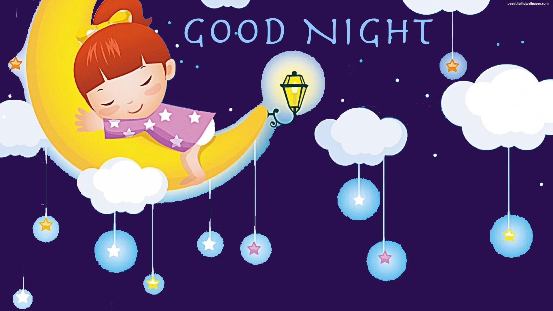 good night cute girl holding moon image