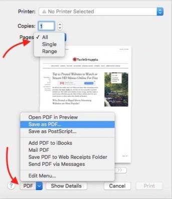 Convert HTML Webpage to PDF on Safari