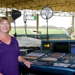 Pearl Jam's monitor engineer Karrie Keyes with her Midas PRO6