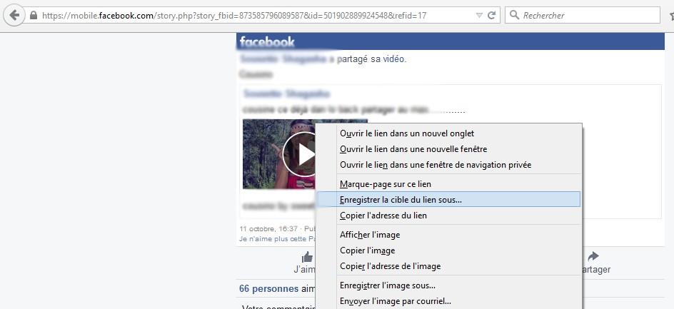 Enregistrer une video Facebook