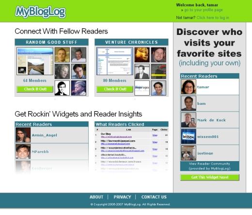 MyBlogLog Welcome Screen