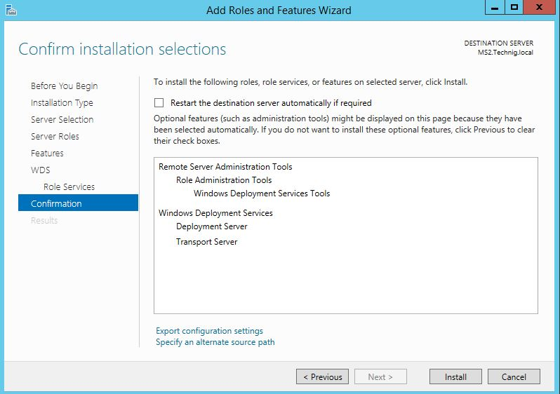 Confirm Installation of Windows Deployment Services