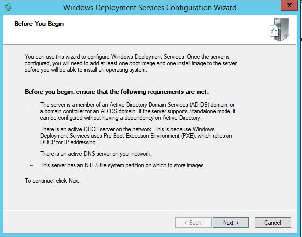 Windows Deployment Services Configuration Wizard