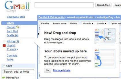Gmail label Drag and drop