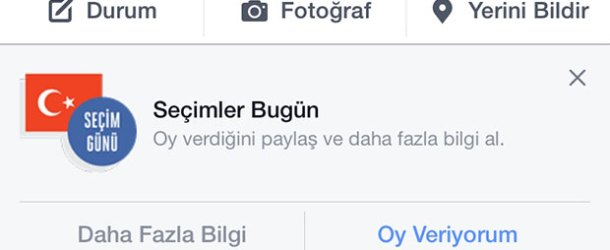 Facebook'tan 7 Haziran günü oy kullanmaya teşvik butonu