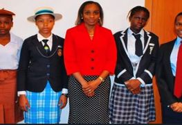 "Omobola Johnson, Minister of Communication Technology, seen in photograph with some participants at the ""Girls in ICT Day 2013"""