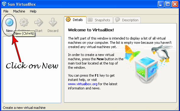 new virtual machine1 Try Google Chrome OS on Windows XP