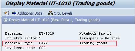 Create Trading Goods HAWVA sap
