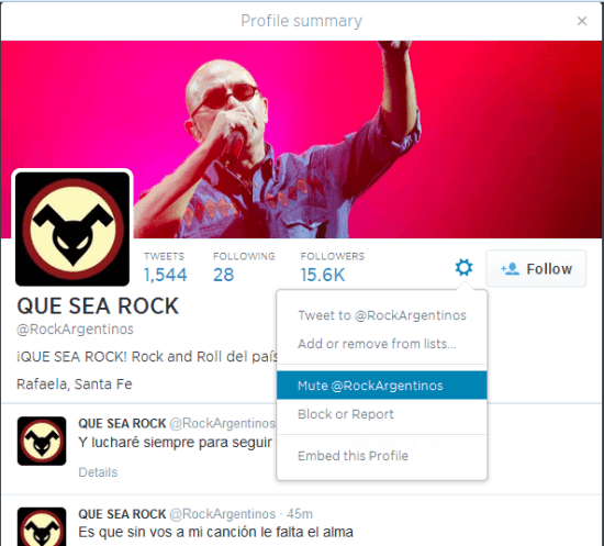 Twitter mute option