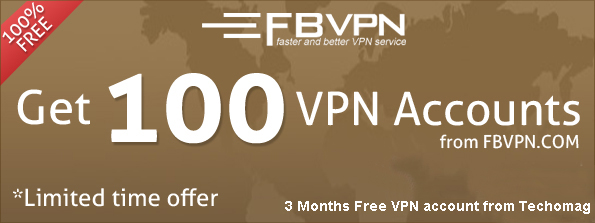 100 free 3 months VPN account from fbvpn