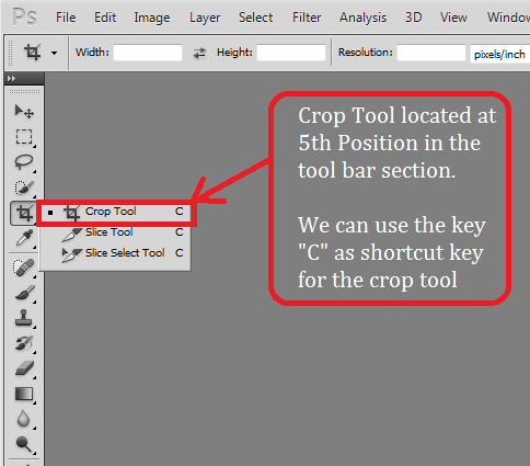 Using the crop Tool in Adobe Photoshop CS5