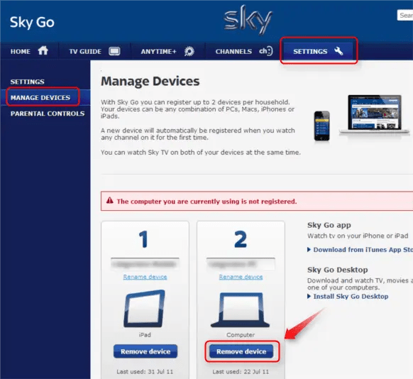 change sky go device, sky go limit