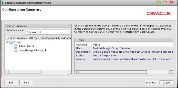 Configuration Summary | Oracle Weblogic Domain Creation