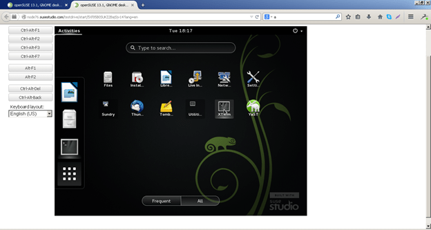 Suse studio logged in desktop