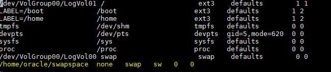swap space fstab settings