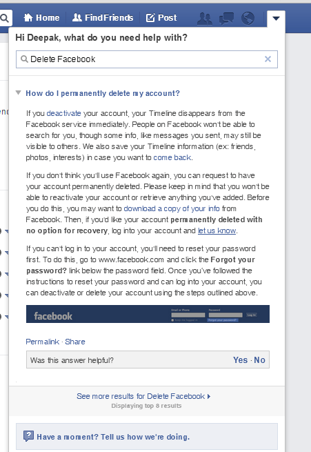 Delete your facebook account permanently techplayce 4 select first option how do i delete my account ccuart Image collections