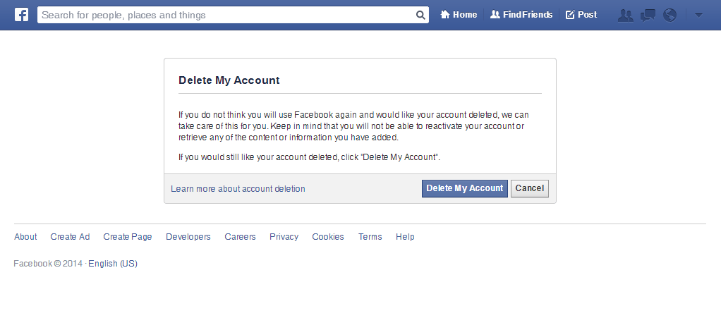 Delete your facebook account permanently techplayce 6 there you are final prompt to delete your facebook account ccuart Image collections