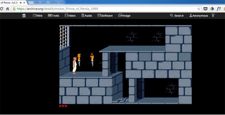 Playing 1990's Prince of Persia on Chrome