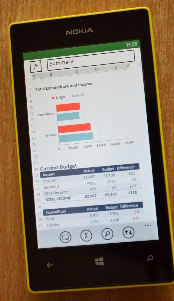 Lumia 520 Excel