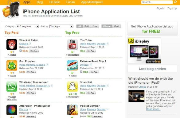 iphone apps list
