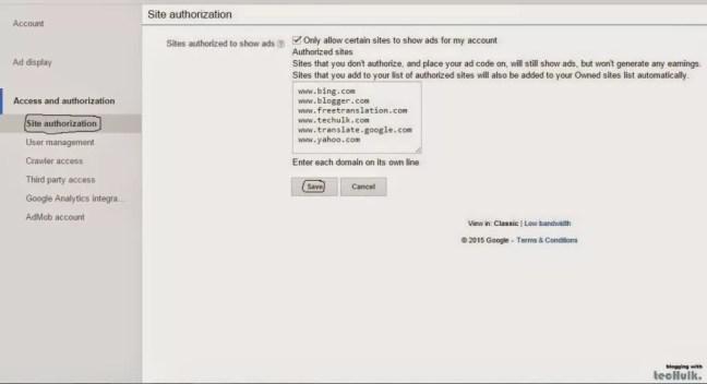Site authorization in Google AdSense