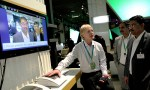 Jan Hederén, Strategy Manager at Ericsson demonstrates capacitive coupling and the Connected Me solution at the 2012 Mobile World Congress in Barcelona /Courtesy of Ericsson Images