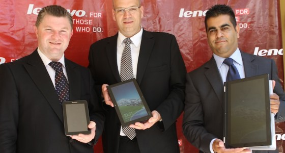 Shamir Jaffer, SMBConsumer Manager East Africa, And Oliver Ebel, Executive Director& General Manager Lenovo Middle East & Africa, Graham Braum, Lenovo Africa General Manager