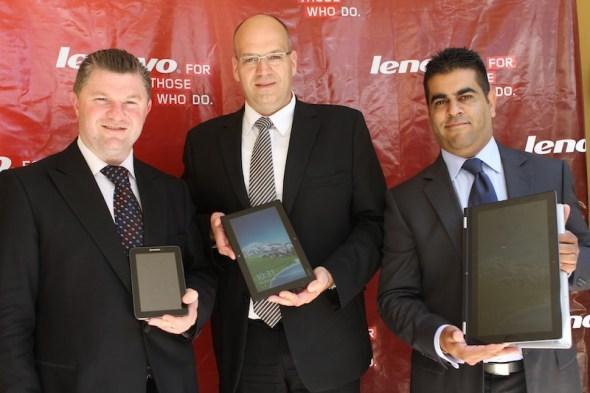 Shamir Jaffer, SMBConsumer Manager East Africa, And Oliver Ebel, Executive Director& General Manager Lenovo Middle East & Africa, Graham Braum, Lenovo Africa General Manager