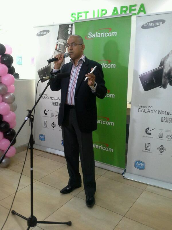 Manoj Changarampatt, Samsung Mobile East Africa Business Leader at the launch of the Galaxy Note 3 at The Junction Mall Safaricom Shop