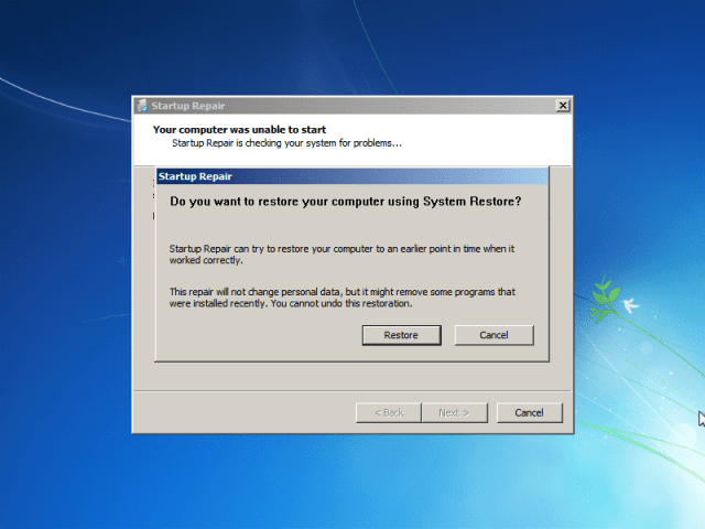 """If you did it correctly, you should get this screen. If you get something like """"Windows did not shut down correctly,"""" try again. Otherwise, select """"Launch Startup Repair."""""""