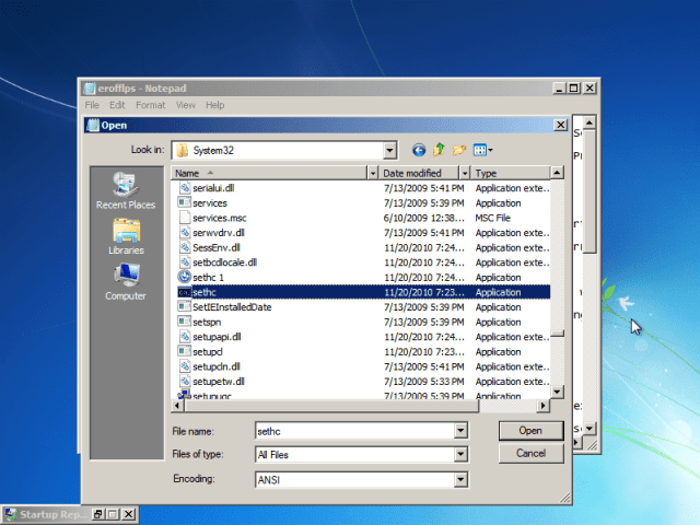"""Find """"sethc"""" in the same folder. This file executes sticky keys. Rename it to """"sethc 1."""""""