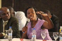 C. Nyamutswa, Director Legal Services stresses a point at the workshop