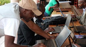 Developers at a tech event in Zimbabwe