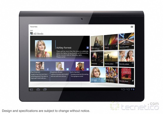 Vista frontal de la tablet S1 con Android 3.0 (foto: Sony)