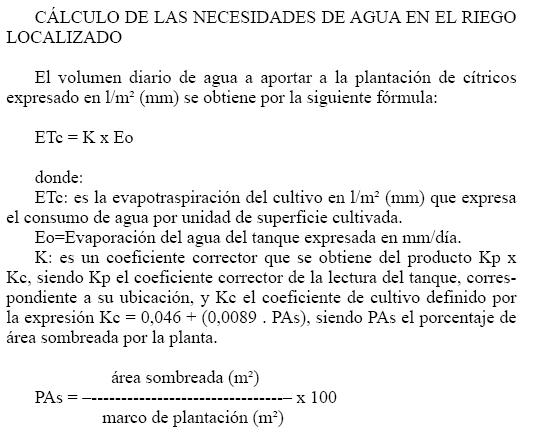 Produccion integrada citricos CALCULO DE LAS NECESIDADES DE AGUA EN EL RIEGO LOCALIZADO EN CITRICOS