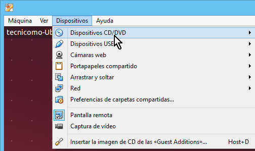 Opción para seleccionar Dispositivos CD/DVD en cómo instalar los Guest Additions de VirtualBox en Ubuntu