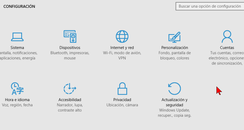 Cómo acceder las opciones de Configuración de Windows 10
