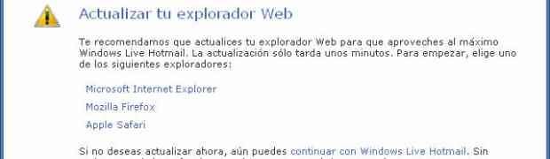 Hotmail no acepta Google Chrome