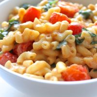 Vegan Mac & Cheese with Sautéed Spinach + Roasted Tomatoes