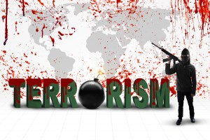 Terrorism concept: Male jihadist carrying rifle with terrorism text and bloody world map
