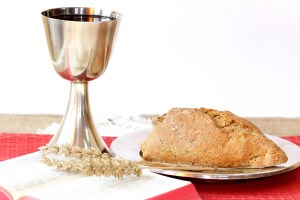 Silver chalice and bread