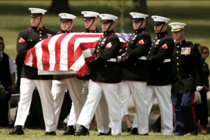A Marine Corps honor guard carries the casket of Marine Sgt. David Russell Christoff, of Springfield, Ohio, during funeral services at Arlington National Cemetery in Arlington, Va.. Wednesday, May 31, 2006. (AP Photo/Haraz N. Ghanbari)