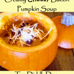 Creamy Pumpkin Soup with a Cheesy Bacon Twist