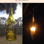 DIY hanging wine bottle candles