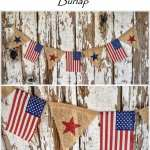 DIY Patriotic American Flag Banner with Burlap