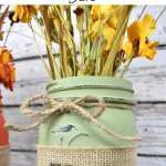 DIY Fall Burlap Mason Jar Vases