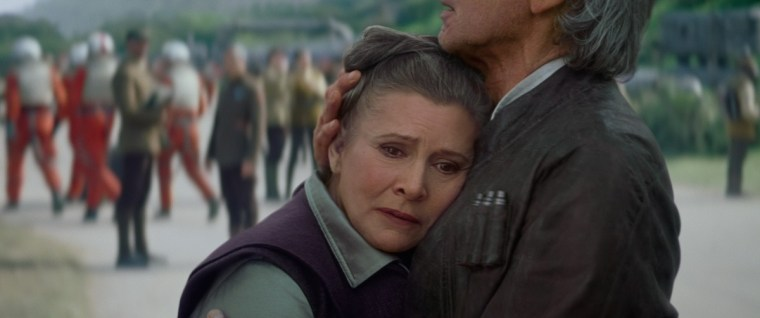Star Wars: The Force Awakens L to R: Leia and Han Solo (Harrison Ford) Ph: Film Frame © 2015 Lucasfilm Ltd. & TM. All Right Reserved.